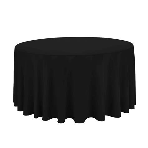 black linen tablecloth black 132 in round economy polyester tablecloths for