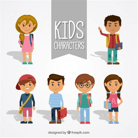 Collection of kid characters vector free download