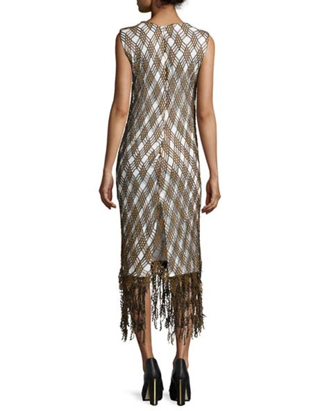 45061 Lattice Coverage Dress maiyet lattice lace fringe midi dress