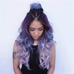 picture of purple to light lavender ombre hair