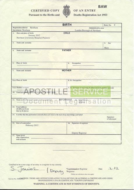 Uk Birth And Records Apostille For Birth Certificates Apostille Service