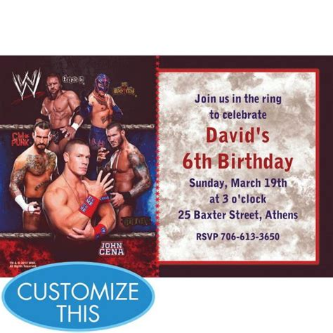 printable john cena birthday cards wwe custom invitation my prince evan pinterest
