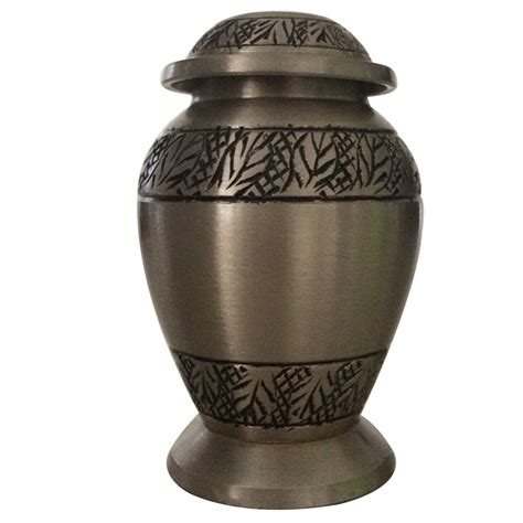 Small Home Urn Classic Pewter Leaves Small Keepsake Urn For Ashes