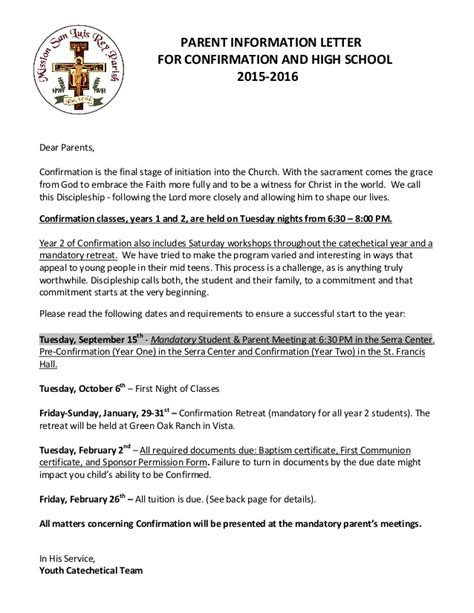Confirmation Letter To Child From Parent Confirmation Parents Orientation Letter 2015 2016