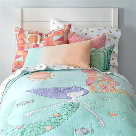 mermaid crib bedding set mermaid bedding the land of nod