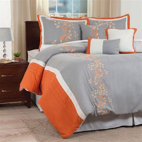 Orange Comforter King by Lavish Home Branches Orange Embroidered 7 King