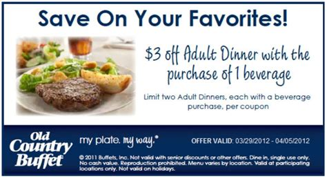 old country buffet 3 off printable coupon 2012