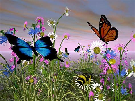 imagenes bonitas de paisajes con flores paisajes de flores mariposas una azul y otra marr 243 n en