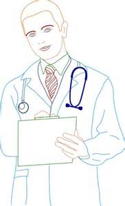 male doctor icon colored outline drawing free vector in