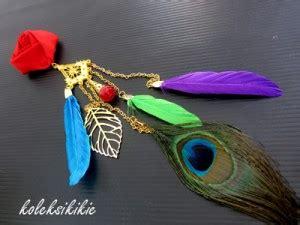 Zamrud Peacock Tali Kacamata Kacamata membuat bros kain bulu merak koleksikikie