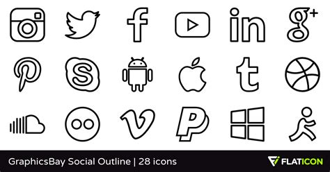 Media Outline by Graphicsbay Social Outline 28 Free Icons Svg Eps Psd Png Files