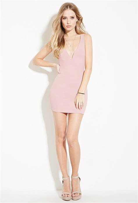 Strappy Bodycon Dress Forever 21 lyst forever 21 strappy back bodycon mini dress in pink