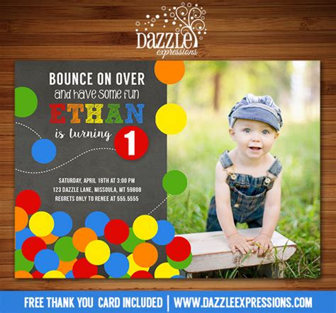 Printable Bouncy Ball Chalkboard Birthday Invitation Ball Pit Bouncing Ball Inflatable Free Bounce Invitation Template