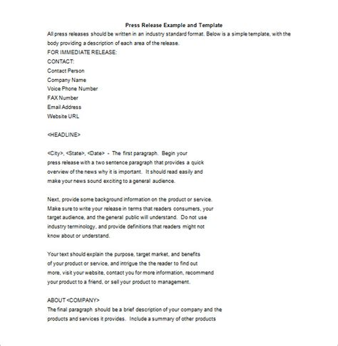 press release template 29 free word excel pdf format