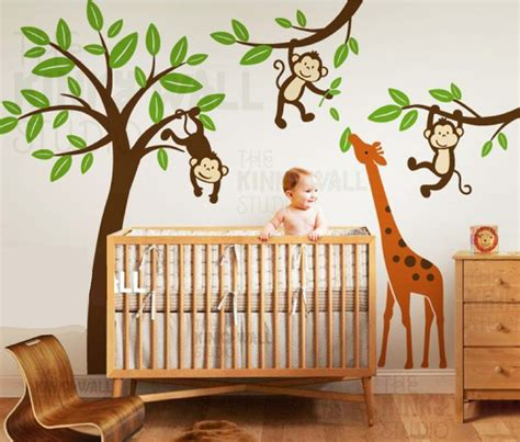 Jungle Tree With Monkeys And Stretching Giraffe Wall Decal Jungle Wall Decal For Nursery