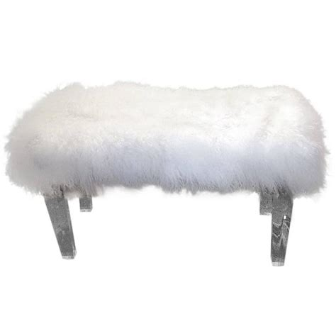 mongolian lamb bench moviestar glam mongolian lamb and lucite bench for sale at