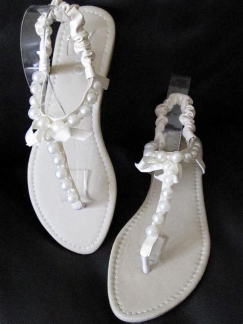 pearl wedding sandals beige flat sandals with pearl au size 7 38 for