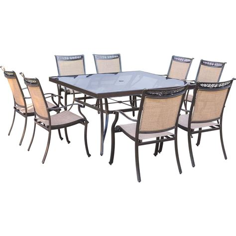 Glass Top Outdoor Dining Table Hanover Fontana 9 Aluminum Square Outdoor Dining Set With Glass Top Table Fntdn9pcsqg