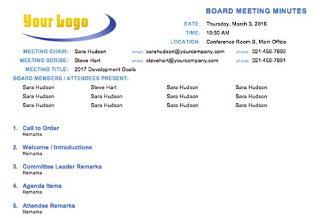 Free Meeting Minutes Template For Microsoft Word Board Meeting Minutes Template