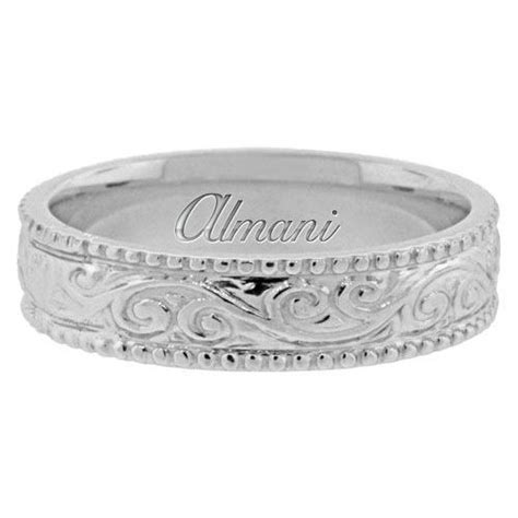 Antique Wedding Bands by 14k White Gold 5 5mm Antique Wedding Band Comfort Fit