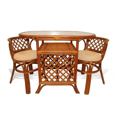 Wicker Dining Table Set Borneo Handmade Rattan Wicker Compact Dinette Dining Set Oval Table 2 Chairs Dining Sets