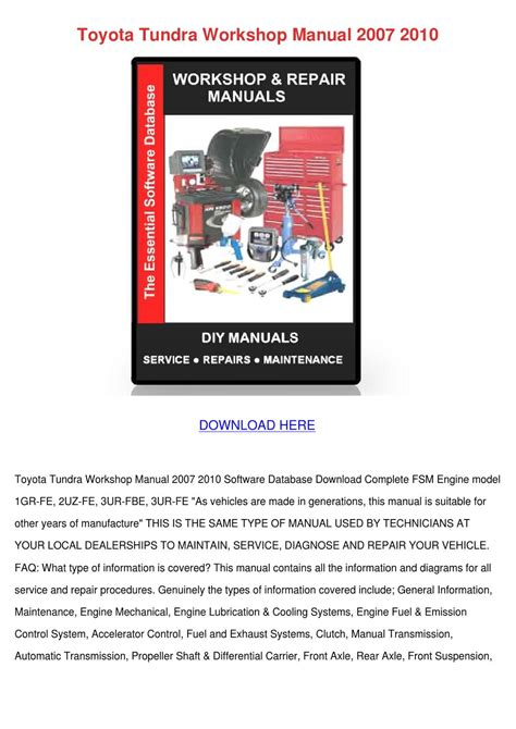 service repair manual free download 2007 toyota tacoma free book repair manuals toyota tundra workshop manual 2007 2010 by gretchenfelder issuu