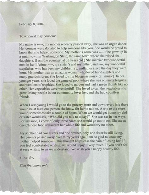 up letter to a loved one sightlife resources how we work with donor families