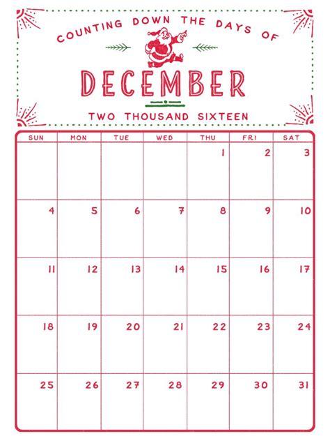 printable xmas calendar december 2016 printable calendar pinteres