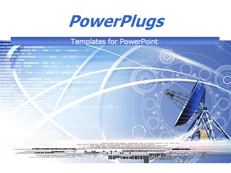 Powerpoint Template Large Satellite Dish Antenna On Blue Satellite Ppt Template Free