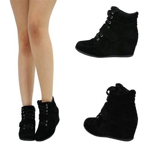 best black high heels black velcro high top med heel wedge ankle