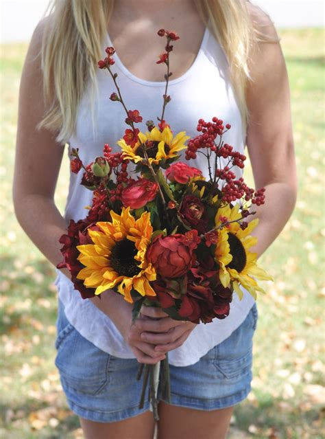 Listing Wildflower Wedding Bouquet Sunflower