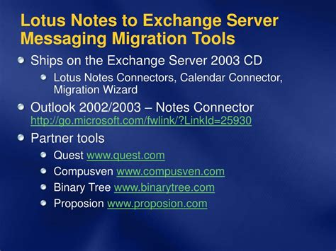 lotus notes to exchange migration ppt migrating from ibm lotus notes to microsoft exchange