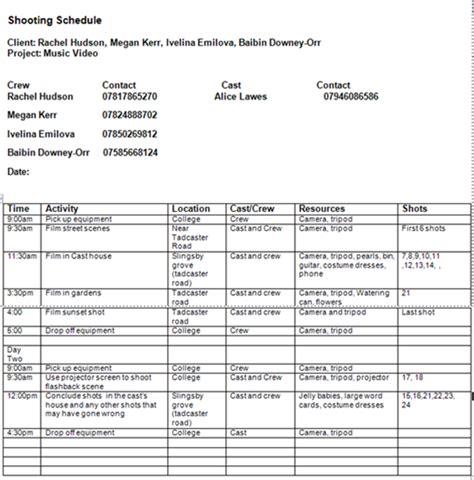 Media Shooting Schedule media shooting schedule