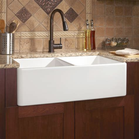 contemporary kitchen sinks 33 quot reinhard double bowl fireclay farmhouse sink