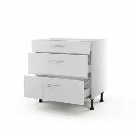 meuble de cuisine bas blanc 3 tiroirs h 70 x l 80 x p