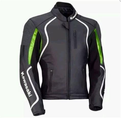 leather motorcycle racing jacket motorcycle kawasaki leather racing jacket black size m