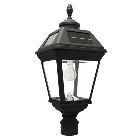 Gama Sonic Imperial Bulb Series Single Black Integrated Solar L Post Light