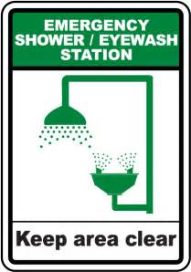 eyewash and shower station shower eye wash keep clear sign by safetysign d4676