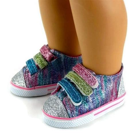 clothes and shoes rainbow glitter tennis shoes sneakers made for 18
