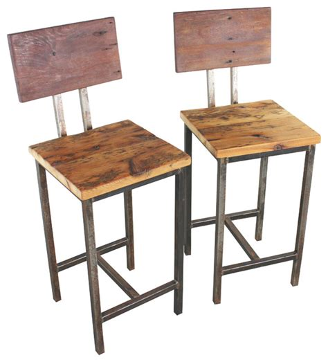 Repurposed Wood Bar Stools reclaimed wood bar stools set of 2 industrial bar