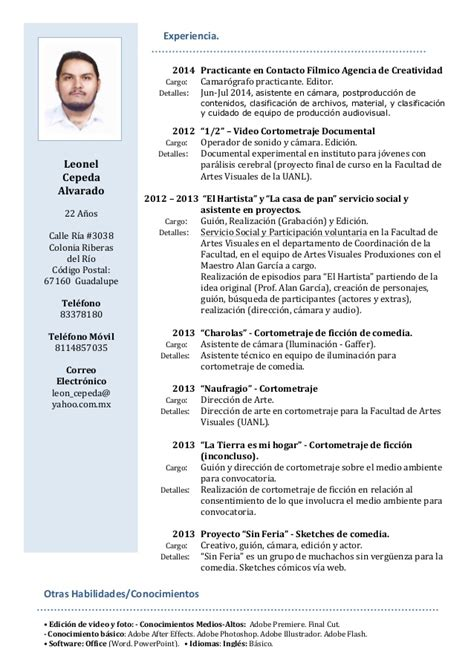 Curriculum Vitae Modelo Expectativas Y Aspiraciones Leonel Cepeda Cv 2014