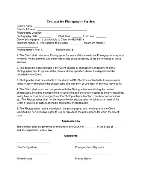 Sle Letter Of Agreement Photography basic wedding photography contracts photography contract template photography