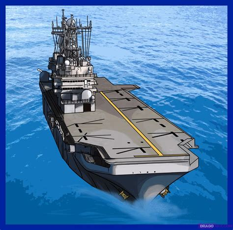 how to draw how to draw an aircraft carrier step by step boats transportation free