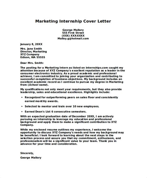 internship cover letters samples ms word