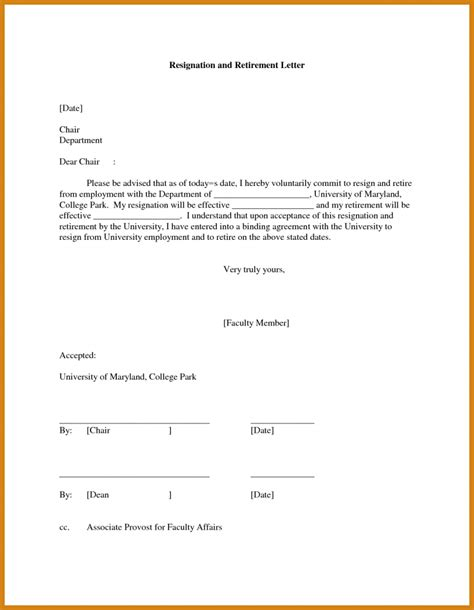 retirement letter to employer letter format template
