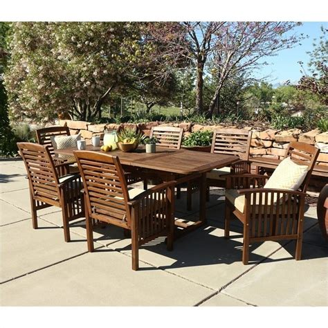 Patio Furniture Dining Sets 7 Acacia Patio Dining Set In Brown Ow7sdb