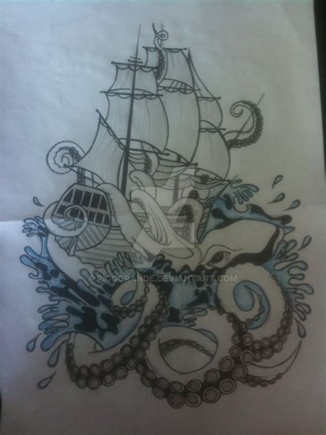 kraken tattoo designs kraken attacking ship on forearm