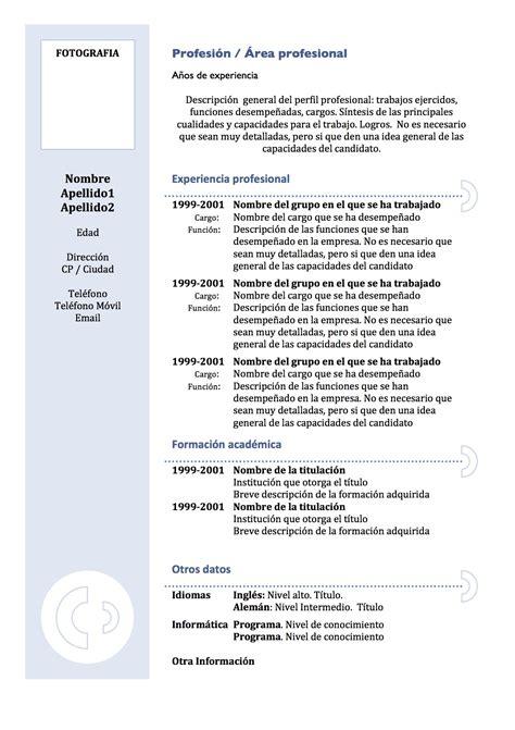 Plantilla De Un Curriculum Funcional Curr 237 Culum Vitae Modelo 3 Tienda De Curriculum Vitae