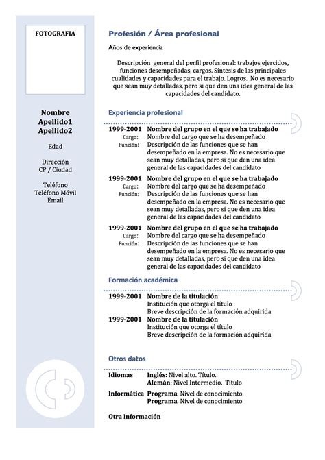 Modelo De Un Curriculum Vitae Funcional Curr 237 Culum Vitae Modelo 3 Tienda De Curriculum Vitae