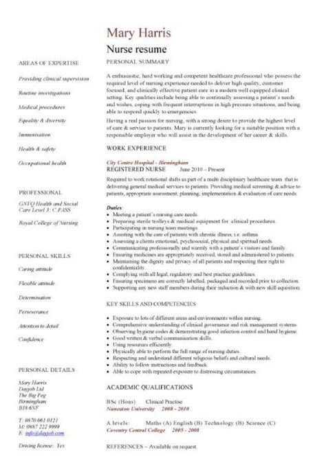 nursing cv template resume exles sle registered resumes healthcare work